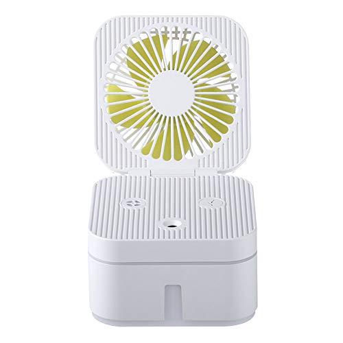 Draagbare 2-in-1 USB-ventilatorluchtbevochtiger, auto-luchtbevochtiger met ventilator, geschikt voor slaapkamer, kantoor, reizen, wind met 3 snelheden en verduistering met 7 kleuren