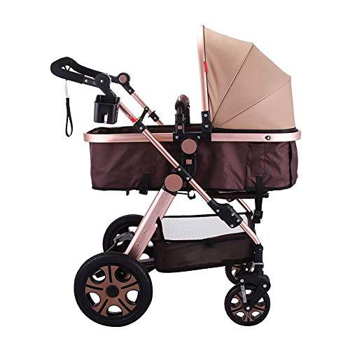 Kinderwagens, Multifunctionele Draagbare Hoge Landschap Schokabsorberende Kinderwagen Folding Is Eenvoudig Te Monteren,Brown