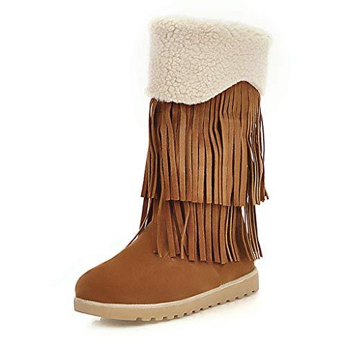MOTOCO Damen Mid Boots Casual Flache Böhmische Fransen Quaste Plus Baumwolle Fringe Warme Schneeschuhe Booties(41 EU,Braun 1)