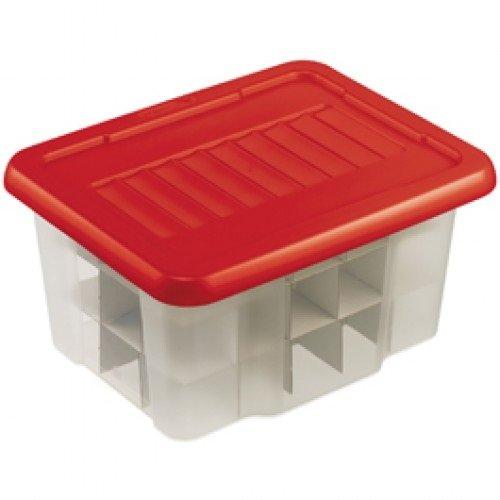 Sunware Weihnachts Box 24 Liter mit flachem Deckel + Tabletts für 45 Kugeln - transp/rot