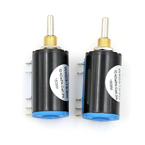 Raybre Art 2Pcs WXD3-13 2W 10K Ohm Potenziometri a Filo Avvolto multigiro di precisione Resistore Regolabile