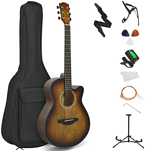 "Costzon 40"" Full Size Cutaway Acoustic Guitar Set, Beginner Folk Guitarra Bundle Kit, Tuner, Case, Strap, Picks, Extra Strings, Bracket, Capo, High Precision Sealed Tuning Pegs, Vibrant Tone (Coffee)"
