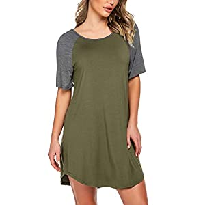 Ekouaer Nightgowns Short Sleeve Raglan Sleepshirts Casual Nightshirt Lounge Dress Boyfriend Style Sleepwear for Women