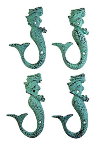 Patina Green Cast Iron Mermaid Wall Hook 6 Inch (Set of 4)