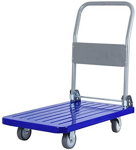 DEE Multifunktions-Einkaufswagen-Industriewagen, Plattformwagen, Stahlmaterial, Kann 300Kg Gewichts-Hand-Lkw-Speicher-Gebrauchslaufkatze Tragen,Blau