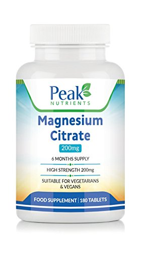 Magnesium Citrate 200mg, 180 Tablets (6 Months Supply), Suitable for Vegetarians & Vegans, Strictly U.K Manufactured, 100% Money Back Guarantee If Not Satisfied