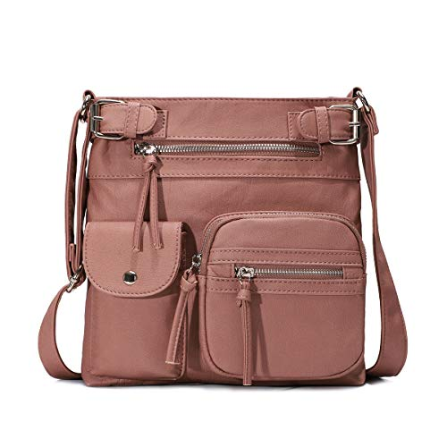 KL928 Damen Umhängetaschen Weiches Leder Henkeltaschen Handtasche Geldbörse Crossover Taschen für Mädchen oder Frauen (pink)
