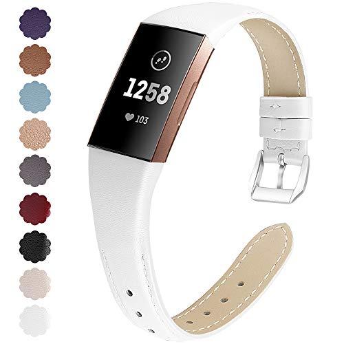 KIMILAR Armbänder Kompatibel mit Fitbit Charge 4 / Charge 3 Armband Leder,Ersatzband Zweifarbig Band Uhrenarmband für Fitbit Charge 4/3/SE Fitness Tracker Damen Herren -Weiße,S