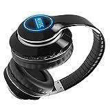 Wsaman Cascos Inalambricos Bluetooth 5.0 Auriculares, Auriculares para DJ con Cancelación de Ruidopara PC/Teléfonos Celulares/TV Auriculares Cómodos Plegables,Negro