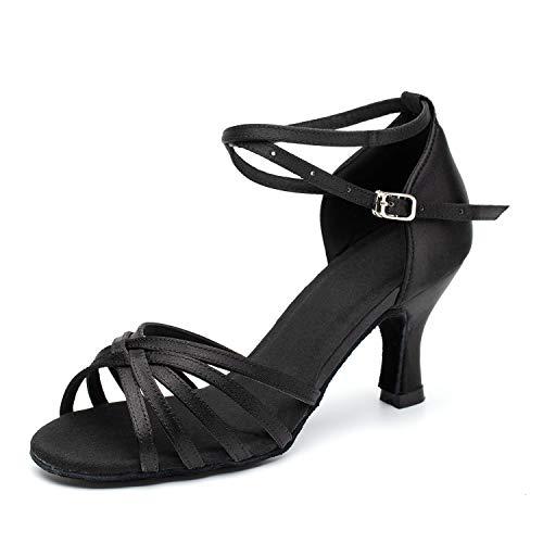 Dress First Ballroom Dance Shoes Women Latin Salsa Bachata Shoes Suede Sole Wedding Performance Dance Shoes 2.76'' Heel Black