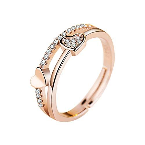 Anillo Lubier de aleación con dos corazones de oro conectado, anillo conmemorativo de boda ajustable para mujeres y niñas