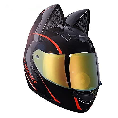 Cascos de motocicleta de cara completa con orejas de gato Viseras abatibles para adultos Casco de motocross Casco modular de choque de motocicleta Ligero G,S