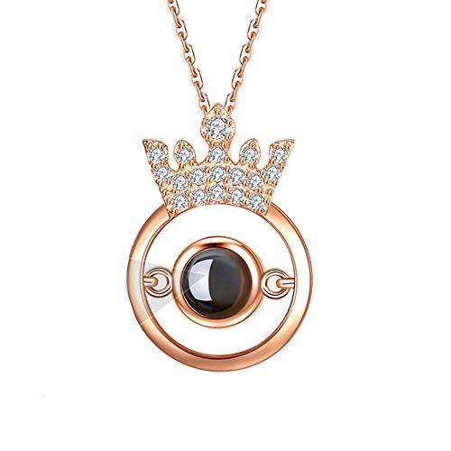 925 Sterling Zilver Projectie Ketting Aangepaste Foto Ketting Dames Belofte Ketting 100 Talen I Love You Crown Hanger