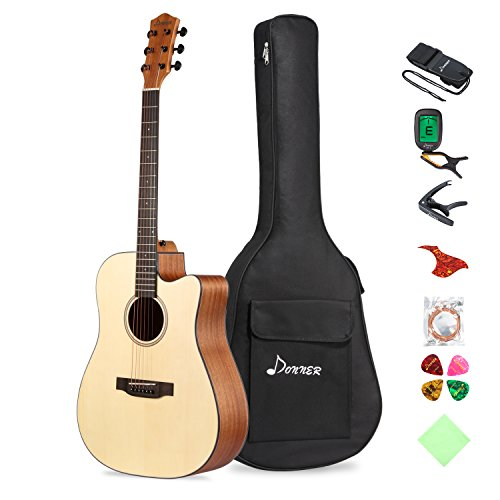 Donner Akustik Gitarre Starter Set Full Size, Akustikgitarre Cutaway 41 Zoll Natur Mahagoni Fichte mit Tasche Tuner Capo Plektren Gurt Saiten (DAG-1C)
