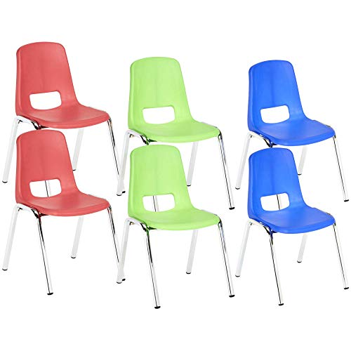 AmazonBasics 12 Inch School Classroom Stack Chair, Chrome Legs, 3 Assorted Colors, 6-Pack