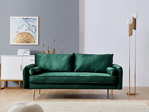 Green Velvet Fabric Sofa Couch,JULYFOX 71 inch Wide Mid Century Modern Living Room Couch with Side Storage Fashion Golden Legs for Small Spaces