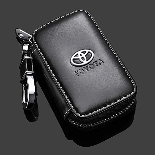 Car Key case for Toyota ,Genuine Leather Car Smart Key Chain Keychain Holder Metal Hook and Keyring Zipper Bag for Remote Key Fob (For Toyota)