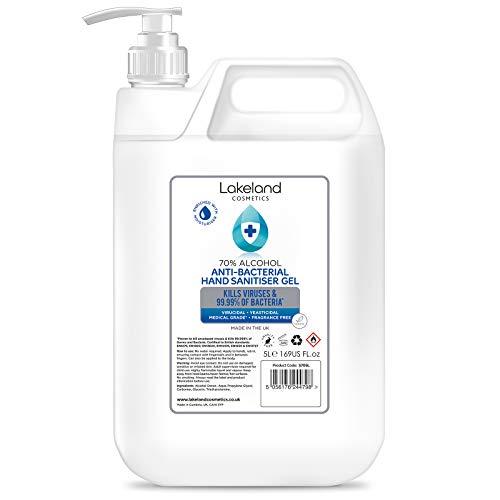 Hand Sanitiser Gel with Pelican Pump Dispenser - 70% Alcohol 5 Litre - Anti-Bacterial Hand Hygiene Gel Rub 5L, sanitizer