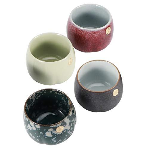 Taza de té de estilo japonés de 4 piezas, juego de tazas de té, taza de café retro al horno, juego de tazas de té al horno retro, vajilla de cerámica de estilo japonés para té de Kung Fu(#1)