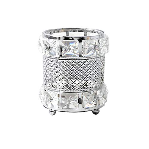 CY craft Silver Makeup Brush Holder Organizer,Handcrafted Vintage Cosmetics Brushes Eyebrow Pencil Pen Cup Collection, Crystal Flower Vase Desk Dresser Decoration and Storage,4.7 x 4 Inch