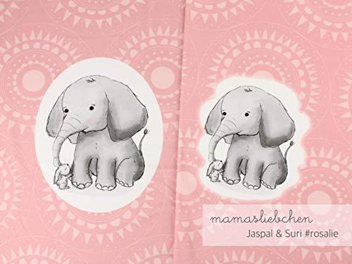 Mamasliebchen Jersey-Stoff jaspal & Suri #Rosalie (1 Panel, ca. 0,65m) Elefant Hase Panel