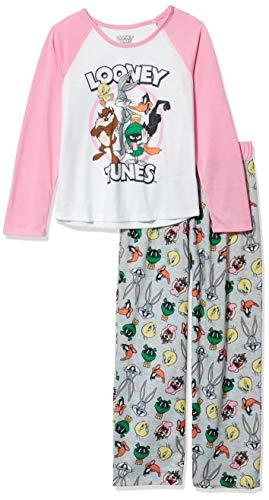Looney Tunes Big Girls 2 Piece Jersey Raglan Pajama Set-Kids Sleepwear, Pink/White, Large