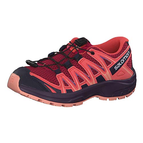 Salomon XA Pro 3D J, Zapatillas de Trail Running Unisex Adulto, Rojo/Naranja (Cerise/Dubarry/Peach Amber), 36 EU