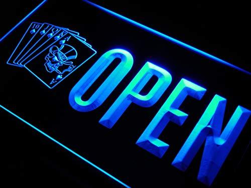 ADV PRO Enseigne Lumineuse j865-b Open Royal Flush Casino Poker Bar New Neon Sign
