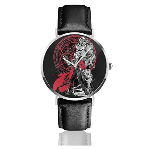 Unisex Business Casual Fullmetal Alchemist Brothers Watches Quarz Leder Armbanduhr mit schwarzem Lederband für Männer Frauen Young Collection Geschenk