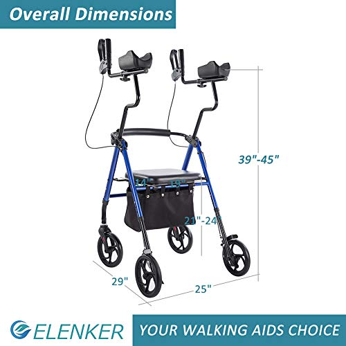 """ELENKER Upright Walker, Forearm Rollator Walker Stand Up Rolling Walker with Padded Seat and Backrest for Seniors from 5' to 5'11"""", Blue"""