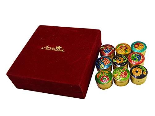 Arvedikas A Premium Gift Set of 9pcs Arvedikas Natural Solid Perfumes Body Musk Handpainted Mini Brass Jars 4gm each/essential oil & beeswax blends / 9 unique fragrances/pocket size long lasting