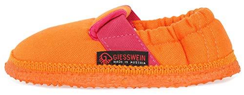 GIESSWEIN Kinderhausschuhe Aichach – atmungsaktive Hausschuhe | Flache Pantoffeln aus Baumwolle | Baumwoll Slippers für Mädchen & Jungen | Weiche Latex Sohle