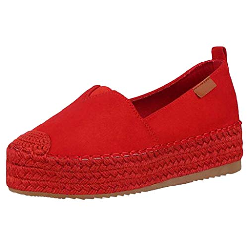 Great Deal! Meigeanfang Shoes for Women Comfort Round Toe Wild Women Espadrilles Casual Shoes(Red,35...