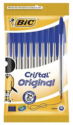 Bic Stylo Bic Cristal Pen Original Blau (Packung mit 40 Stiften)