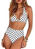 CheChury Bikini Mujer Push up Impresión Traje de baño Conjuntos Cintura Alta Bañador Mujer de Talle Alto Vintage Bikini Set para Mujer (Blanco, L)