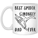 N\A Funny Spider Monkey El Mejor papá de Todos los Tiempos - Taza de café Blanca con Dedo Medio, 11 oz