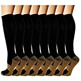 Copper Compression Socks For Men & Women -8 Pairs- Best for Running, Athletic, Medical, Pregnancy and Travel