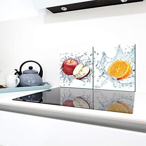 QTA | Herdabdeckplatten 2X 40x52 cm Ceranfeld Abdeckung 2teilig Glas Spritzschutz Abdeckplatte Glasplatte Herd Ceranfeldabdeckung Obst Früchte
