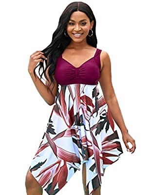 BUCOTA Swimsuits Swimdress for Women Athletic Two Piece Tankini Bathing Suits Tummy Control with High Waisted Bottom, Claret, XL