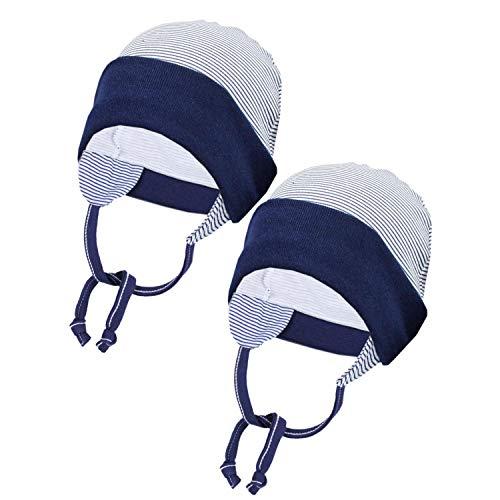 TupTam Baby Erstlingsmütze mit Ohrenklappen 2er Pack, Farbe: Streifenmuster Dunkelblau, Größe: 50/56