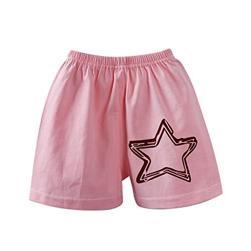 MINGRONG Unisex Baby-Shorts mit süßem Cartoon-Muster, Baumwolle, 0-5T, Baumwolle, Pink Star, 65 cm
