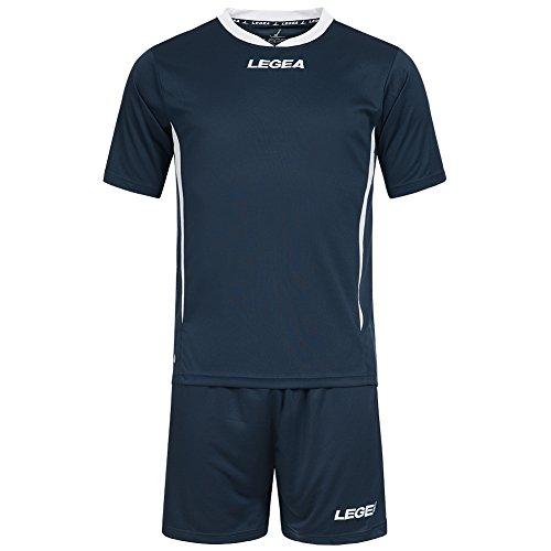 Equipación de fútbol Legea Maglia Dusseldorf MC, camiseta + pantalones, para jugadores de fútbol, Fußball-WM, todo el año, Casa, Hombre, color azul marino, tamaño 2XS | 140-152
