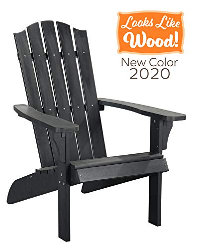 PolyTEAK Element Faux Wood Poly Adirondack Chair, Brown   Adult-Size, Weather Resistant, Made from Special Formulated Poly Lumber Plastic