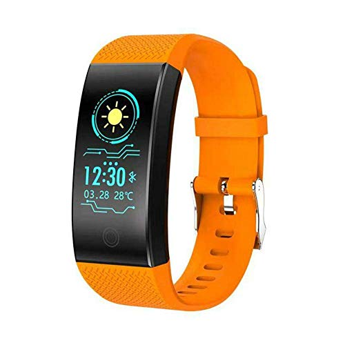 ZGYQGOO QW18 Smart-Band, bun0,96 Zoll OLED-Bildschirm, Fitness-Armbanduhr mit Herzfrequenz-Monitor, Aktivitaumlstracker, Schlafuuml;berwachung, Schrittzauml;hler, IP68 wasserdicht Orange