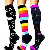 Calcetines de compresión para mujeres y hombres: los mejores calcetines médicos, para correr, enfermería, circulación y recuperación, senderismo, viajes y vuelo, 20-25 mmHg A03-multicolor-3 pairs S/M