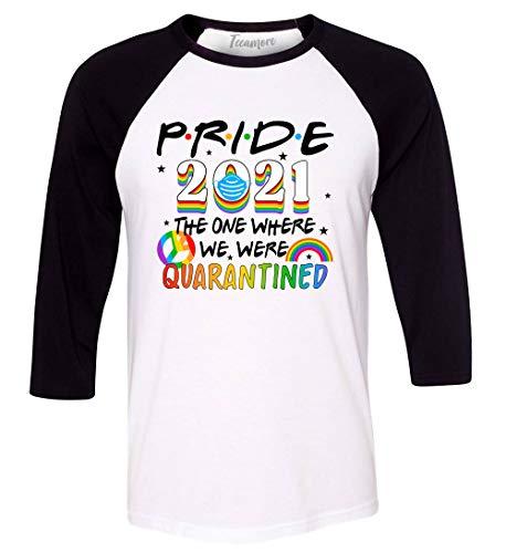 Gay Pride 2021 Raglan Sleeve Tee The One Where We were Quarantined Men Baseball Shirt White/Black