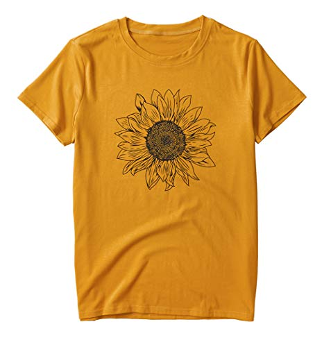 Ainuno Sunflower Shirts for Women Cute Graphic Tees Yellow Shirts Short Sleeve Tshirts Trendy Tops Casual Loose Fit Funny T-Shirt for Teen Girls Crew Neck Beach Shirts Workout Outfits,Sunflower S