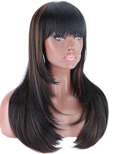 Kalyss Heat Resistant Yaki Synthetic Wig with Hair Bangs Long Straight Layered Black Wigs with Brown Highlights Natural Looking Centre Parting Hair Replacement Wigs for Women