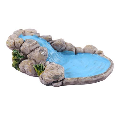 YoungerY 3D Creative Natural Microlandschaft Ornament Holzpfahl Rasen Berg Wasser Pool Well Fairy Garden Plant House Home Dekoration Geschenk