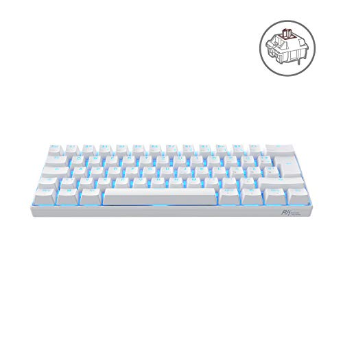 RK ROYAL KLUDGE RK61-DE QWERTZ Kabelgebundene / Bluetooth 60% Mechanische Tastatur, PBT Tastenkappen, Braune Schalter, für IOS, Android, Windows und Mac, Weiß